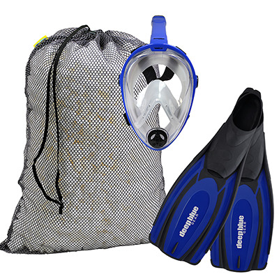 Full Face Mask Combo - Adult Snorkeling Set by Deep Blue Gear