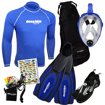 Kitchen Sink Full Face Mask Combo - Adult Snorkeling Set by Deep Blue Gear